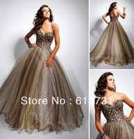 Custom Made 2013 New Arrival Sweetheart Ruched Court Train Emerald Green Evening Dresses Long 790