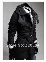 Мужские изделия из шерсти 2012 European style detachable hat men's woolen the wild jacket mens dust coat Slim horn button wool coat outwear