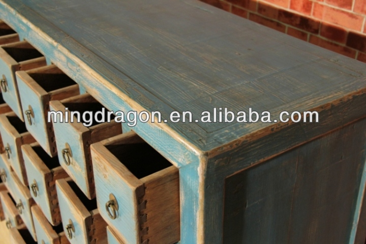 Chinese antique Shanxi solid wood blue medicine cabinet