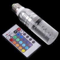 переменного тока 90 ~ 240v 3w e27 rgb привело лампа лампа 16 изменение цвета хрусталя привели прожектор с дистанционным управлением