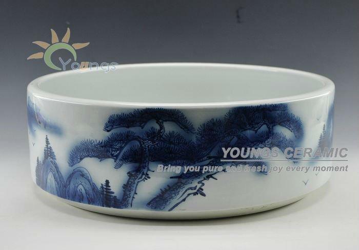 Gros belle chinois bleu porcelaine comptoir lavabo en for Lavabo ceramique ou porcelaine