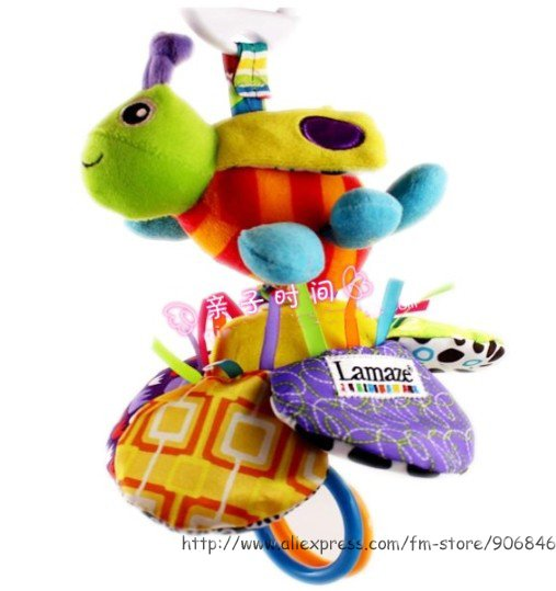 Candice guo! Hot sale super cute baby toy lamaze sunflower bee shaped multifunctional bed bell bed ring 1pc