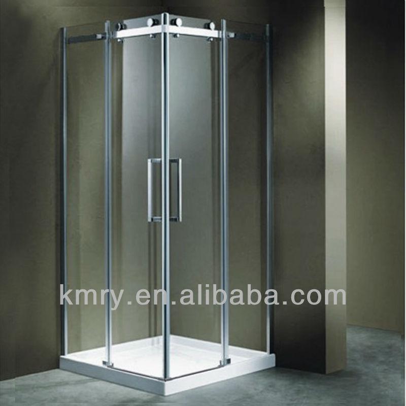 frameloze vierkante roestvrij stalen schuifdeuren hoek douche deur, Badkamer