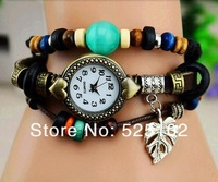 new Genuine Leather Hand Knit ancient wood Vintage Watches,bracelet Wristwatches Love leaves Pendant