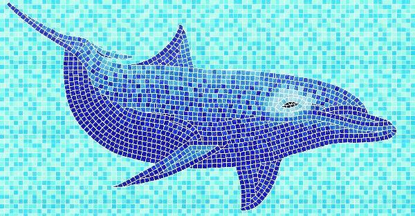 Fish Mosaic Tile Pattern,gold