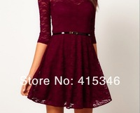 Free Shipping 2013 spring new star most love cuff round neck slim lace dress get belts