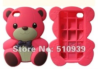 New 3D Hello Teddy Bear Soft Silicone Cute Case Skin Back Cover For Apple iPhone 4 4S 4G 1pcs/lot free dropshipping! Wholesales!