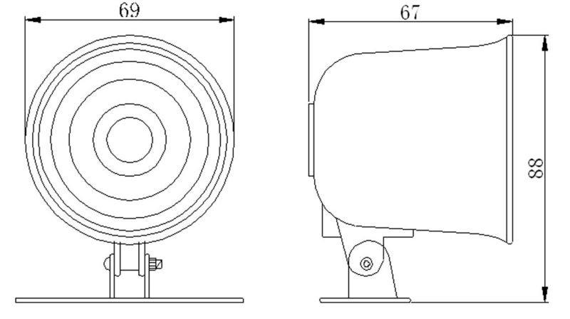 12v electronic siren gs-25 car back sound speaker siren