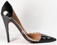 Туфли на высоком каблуке 2012 Sexy Lady Fashion Black Patent Leather Stiletto Pumps Dress Shoes