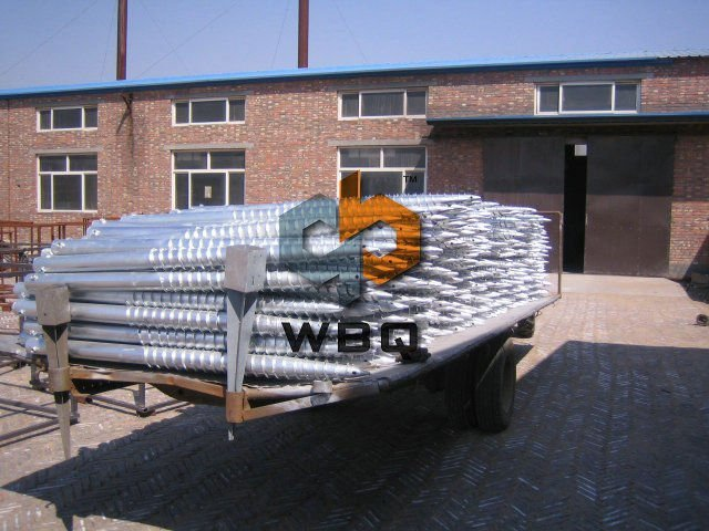 Galvanized ground screw pole anchor for the street lamp