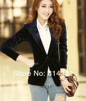 Женский костюм New Women Blazer Solid Single Button Notched Long Sleeve One Button Fashion Brand Bodycon Solid Blue M~L