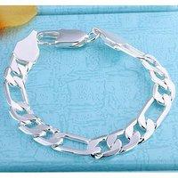 Н202 завод Цена 925 серебряные Фигаро снаряженная браслет! Серебряная цепь браслет ювелирные изделия совершенно новый! персонализированные украшения
