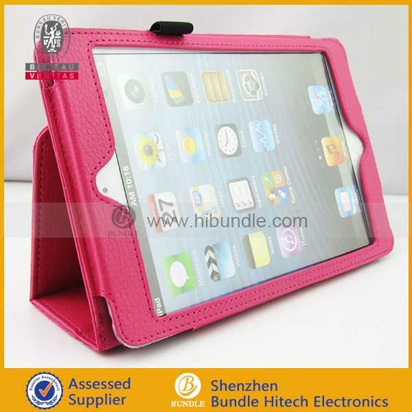 2013 hot selling wallet leather case for ipad mini with hand hold case
