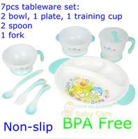 Посуда baby child slip-resistant dinnerware set 7pcs tableware set cutlery crockery, bowl, plate, fork spoon training cup BPA