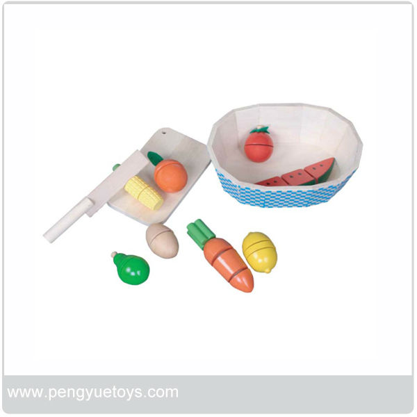 Wooden Fruits in Blue Bowl play set py1279
