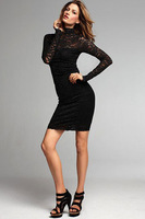 1Piece Free Shipping Women Fashion Sexy Lace Open Dress, Club Long/Sleeve Dress,Free Size,Black 0.16Kg/Pieces Cheap Price Drop