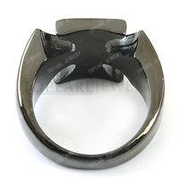 2шт Мальтийский Железный крест черный нержавеющей стали кольца mer190