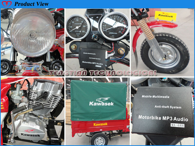 200cc strong steel plate cargo case tricycle