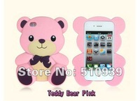 Чехол для для мобильных телефонов New 3D Hello Teddy Bear Soft Silicone Cute Case Skin Back Cover For Apple iPhone 4 4S 4G 1pcs/lot dropshipping! s