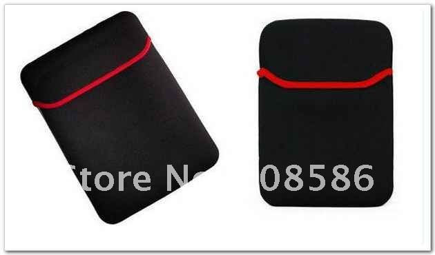 "Free Shipping Black with Red Neoprene Notebook Laptop Sleeve Bag Case Sleeve Case for 7"" Ebook Apad Tablet PC Wholesale"