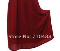 Long paragraph European style wood ear retro high waist chiffon bust dress  burgundy,Chiffon Dress,fold dress,