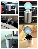 Пепельница 2pcs Applied New Car Auto Cigarette Holder Travel LED Light Smoke Accessory Ashtray