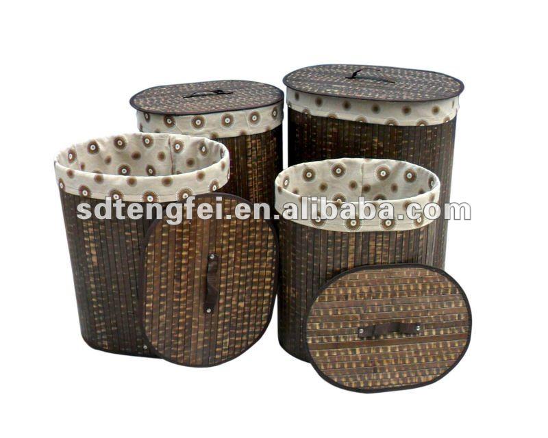 de bambu de dobramento cesto de roupa sujacolorido cesto de roupa