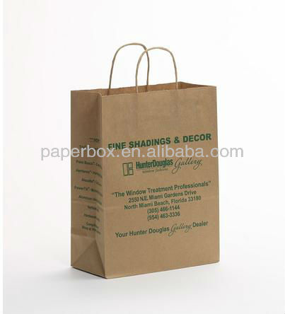 kraft paper home tote shopping carry bag mix color and logo stamp with twisted paper handle