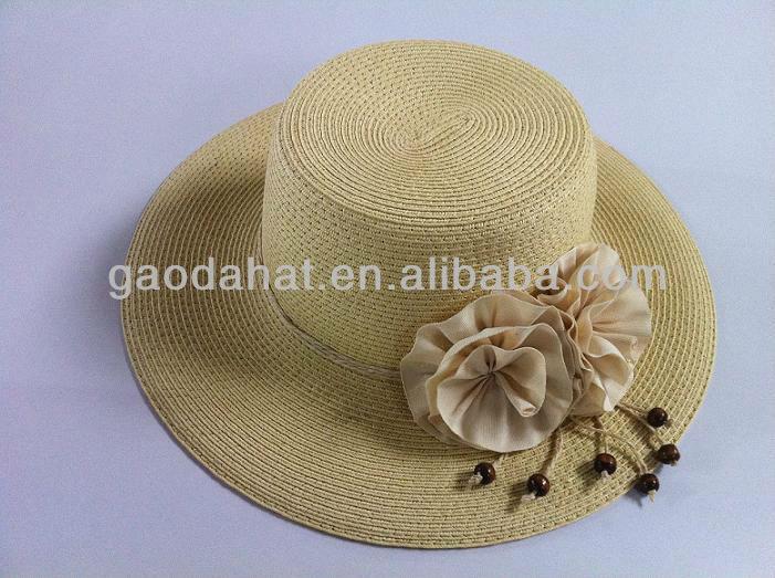 Big brim Ladies panama paper hats with lace decorations