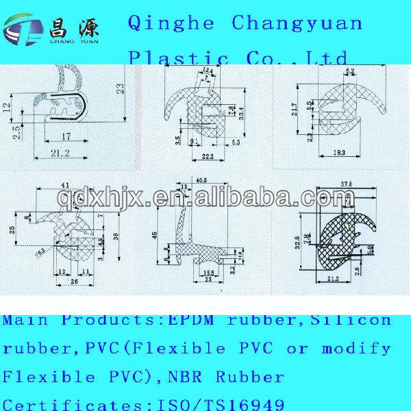 silicon rubber strip/rubber bumper strip with ISO/TS16949