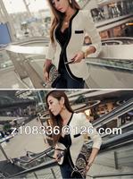 Женская куртка New fashion Women Long Sleeve Slim Brand Jacket Lady Autumn V-neck Black White Suit OL Jackets Plus Size