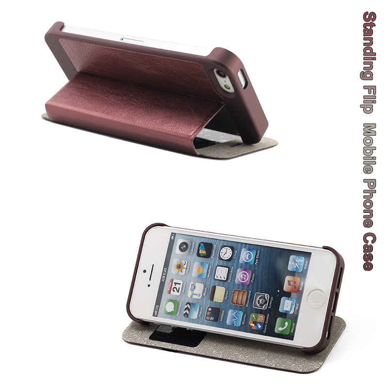 Hot Flip Leather Mobile Phone Case Cover for iPhone 5/5s