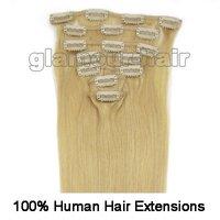 "Волосы для наращивания Guarantee100% human hair 15"", 18, 20"", 22""7PCS Clip In/On Remy Human Hair Extensions#24 Blonde, 70g/set & 80g/set Straight"
