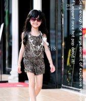 Комбинезон для девочек Children Overalls girls overralls suspender thouser One-piece shorts girl leopard 2-10 years old