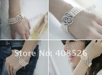 Hot Fashion Women's Rose Flower 4-Layers Pearls Bracelet Jewelry Pure White Free Shipping 4269