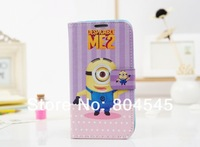 Чехол для для мобильных телефонов Cartoon Minion Despicable Me Flip Wallet Card Holder Stand Leather Case Cover For Samsung Galaxy S3 I9300 Note 2 N7100 Bag Purse
