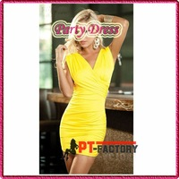 New Arrival Sexy Yellow Ruffles Party Dress Clubwear Mini Dress Sexy Costumes Nightwear Free Shipping