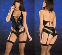 Women Sexy Lingerie Black Gothic Punk Vinyl PVC PU Catsuit Clubwear Costume Teddy & Gater ds1123