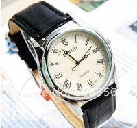 Наручные часы 2013 New fashion business leather man quartz watch high quality, more color, cheap