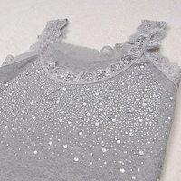 дамы хлопок футболки топы моды кружева горный хрусталь топы одежду носить падение судоходство a1095