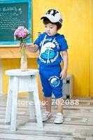 Розничная 96 мальчик спортивный костюм наборы 1983 одежда мальчиков мультфильм голубой мастер подходит для малышей одежда Толстовки + штаны Детская одежда