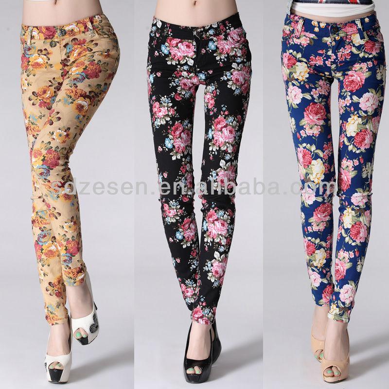 Flower Printed Pants Lady Printed Stretch Pants