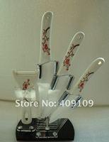 Wholesale High Quality Ceramic Knife 5-piece Set . 4 inch+ 5inch+ 6 inch+  Knife holder+peeler(Plum blossom)