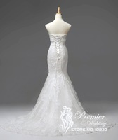 Actual Images New Collection Strapless Custom Made Alencon Lace Bow Detailing Lace Up Mermaid Wedding Dresses