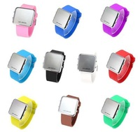 Наручные часы Gift! Fashion Silicone Rubber Digital Led Mirror Surface Sports Watches/Candy Watches