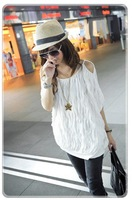 Женская футболка NEW HOT Fashion trendy Cozy women ladies Noble clothes Tops Tees T shirt Wave dew shoulder tee