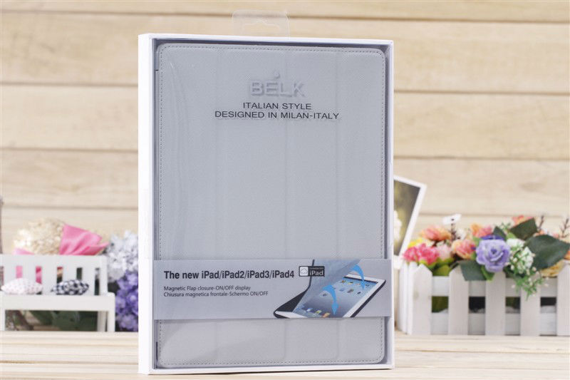 Fold leather belk case for ipad 2/ipad 3/ipad 4