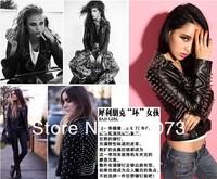 моды панк шипованная плечо заклепки кожа pu тонкий короткий черный синий женщин куртка