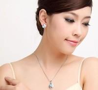 18 k белого золота гальваническим дизайн серьги лист кристалл ожерелье/сделать с au детекторный ювелирные mg619-2