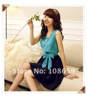Женское платье 2012, Korean/Japan ladies Casual Fashion mini skirt, women elegant sexy fit and flare dress LP8107